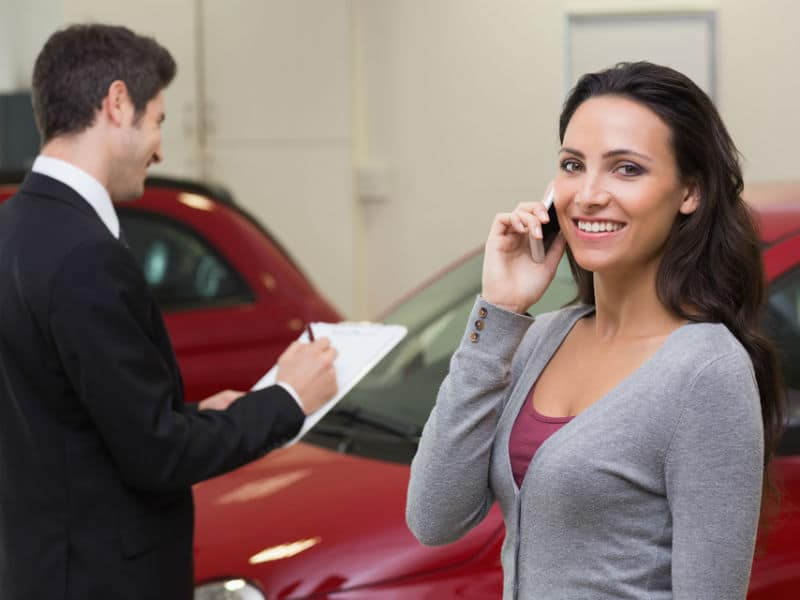 Woman buying car on pcp